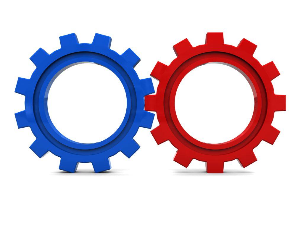 to tandhjul i rød og blå