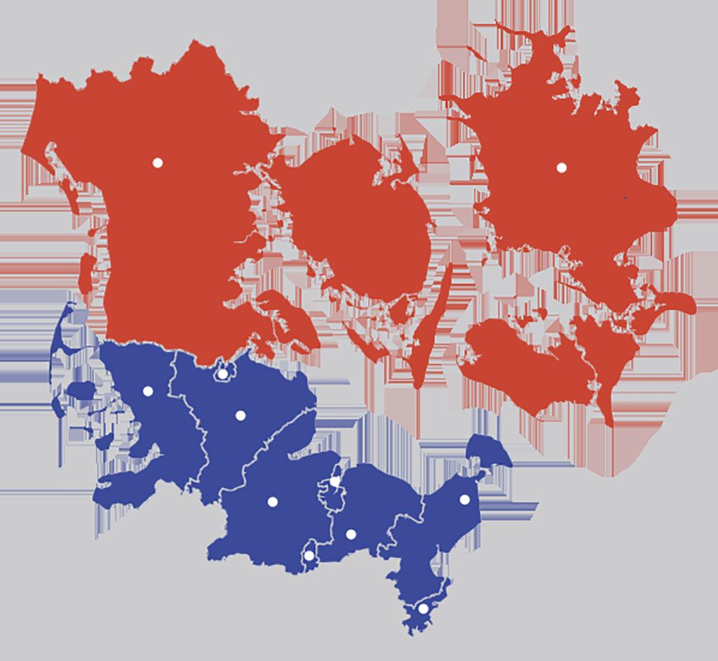 Kort af tyskland og Danmark