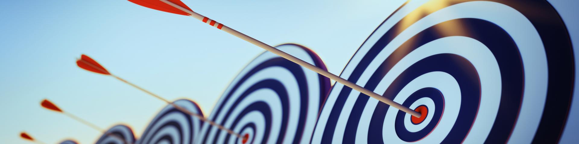 Ergebnisse und Facts - 3 Blau/weisse Zielscheiben mit jeweils einem Pfeil in der Mitte