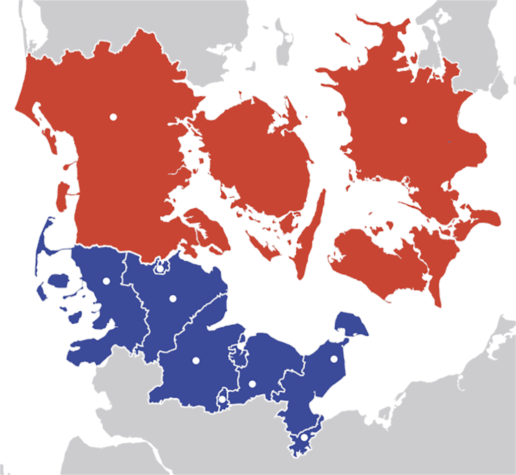 Karte von Schleswig-Holstein in blau und Region Syddanmark sowie Sjælland in rot