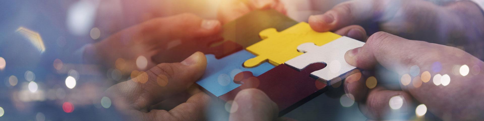Titelbild für Programmregion und Programmpartner - 5 Hände halten passende Puzzleteile aneinander