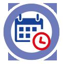 Icon Projekte nach Datum anzeigen - blauer Kalender hinter roter kleiner Uhr, beides hinterlegt mit einem weißen Kreis, mit blauer, breiter Kontur