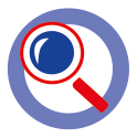 Icon Priorität 1 Innovation - rote Lupe vor einem weißen Kreis mit einer hellblauen, breiten Kontur
