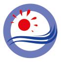 Icon Priorität 2 Nachhaltige Entwicklung - rote Sonne und blaue Wellen vor einem weißen Kreis mit einer hellblauen, breiten Kontur