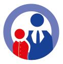 Icon zu Priorität 3 Arbeitsmarkt, Beschäftigung + Ausbildung - Zwei Figuren im Anzug  vor einem weißen Kreis mit einer hellblauen, breiten Kontur