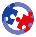 Icon zu Priorität 4 Funktionelle Zusammenarbeit  - Zwei Puzzleteile vor einem weißen Kreis mit einer hellblauen, breiten Kontur
