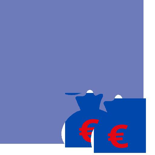 Icon Verwaltung - Zahnrad mit Geldsäcken davor