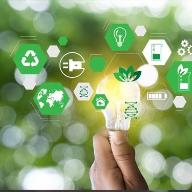 Hand hält eine leuchtende Glühbirne, Grüne Icons zeigen umweltfreundlich, Ökostrom, Ressourcenoptimierung