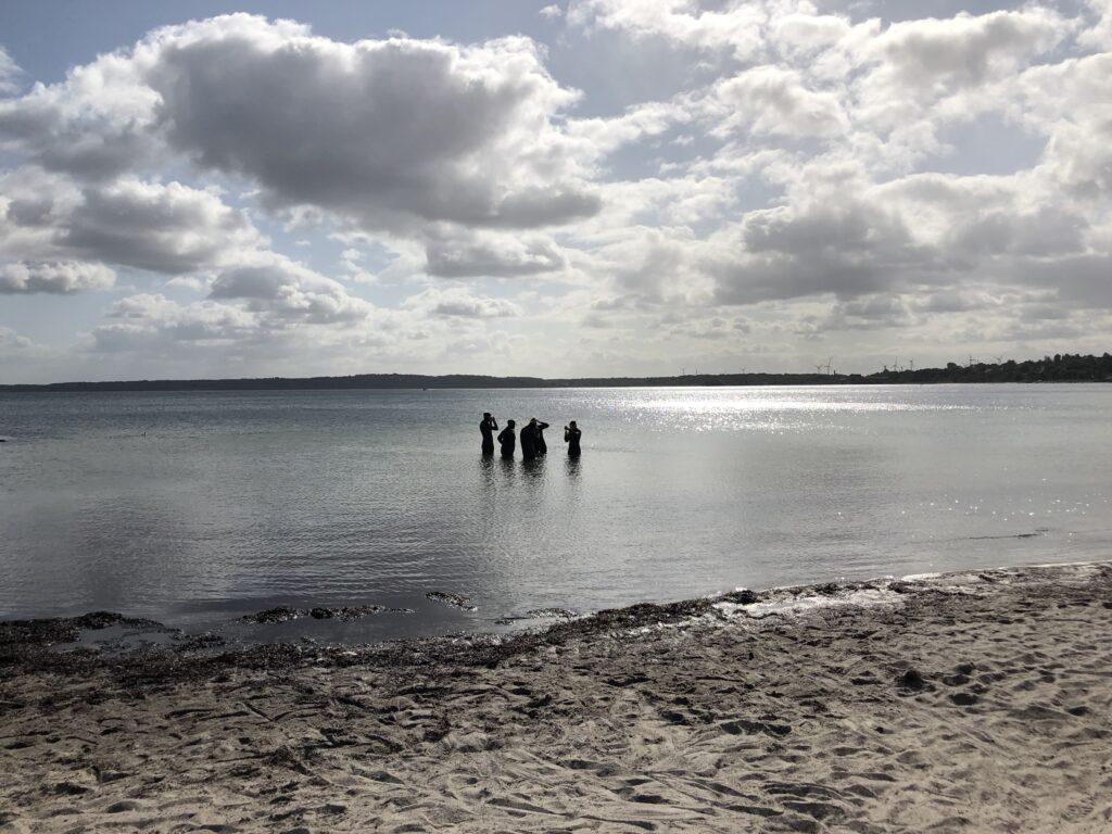 Taucher stehen im Wasser