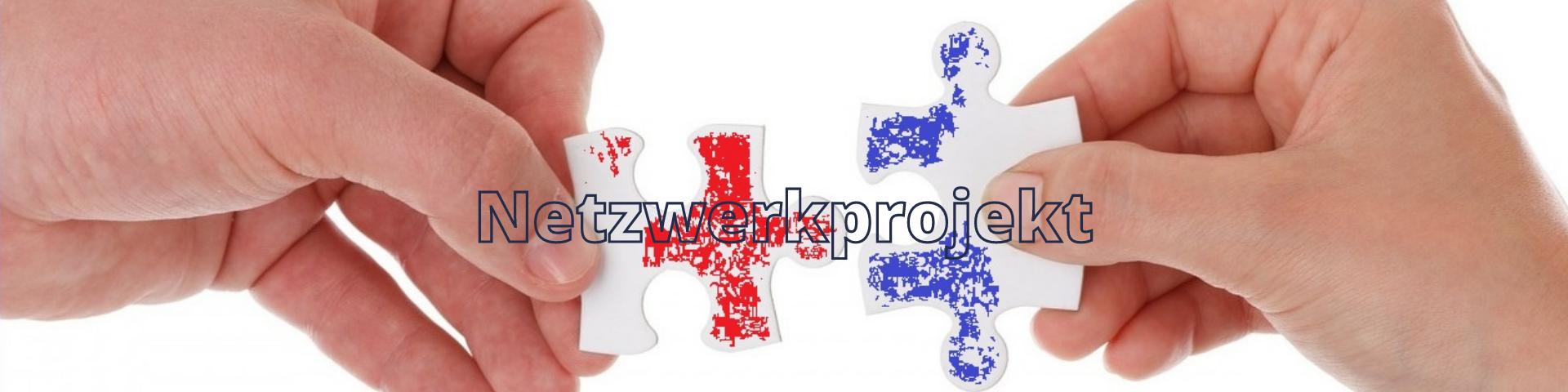 Puzzleteile in rot und blau