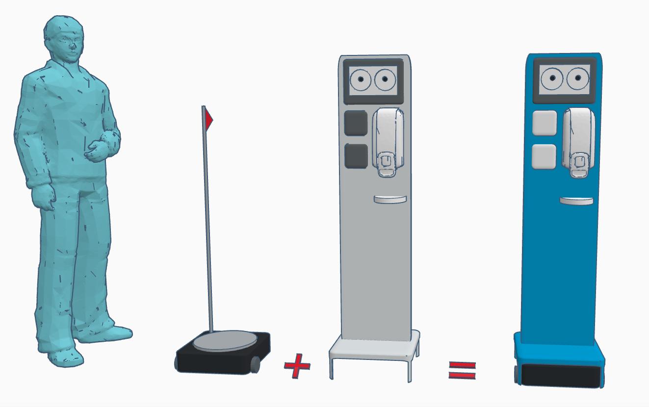 Skizze eines fahrenden Robotors